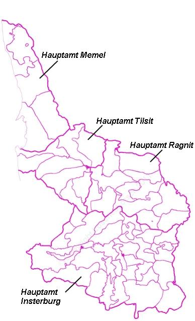 Amtsgrenzen Preussisch-Litauen um 1736